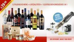 12 Italienische Weine+6 Spezialitäten+ 1 elektronischer Korkenzieher 3in1 für 39,90€ @.giordanoweine.de