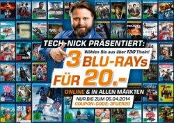 3 Für 20€ mit Gutscheincode – Saturn hat wieder die beliebte Aktion 3 Blu-ray für 20€, Online&Lokal, Online + 1,99€ Versand