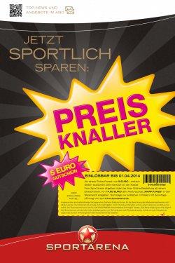 5€ Rabatt GutscheinOffline (ab 5€ Einkaufswert) od. Online (MBW 14,95€) Einkauf bei Sportarena (auch auf Sale)