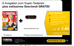 6 Ausgaben TV DIGITAL XXL + Transcend USB Stick 32 GB Gratis für 7,50€ @ Leseshop24