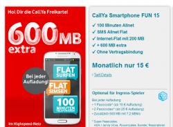 CallYa Smartphone FUN 15 – 600 MB extra Kostenlos Prepaid Karte bestellen @vodafone