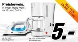 Dampfbügeleisen oder Kaffeemaschine für je 5 € inkl. Versand bei Mediamarkt