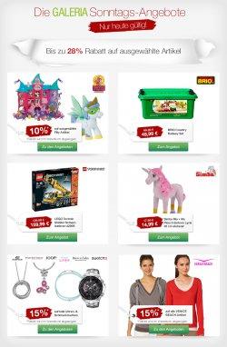 Galeria Kaufhof mit bis zu 28 % Rabatt auf ausgewählte Produkte bei den Sonntagsangeboten