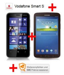 LogiTel Deal: Nokia Lumia 620 + Galaxy Tab 3 + 50 Euro Prämie mit Vodafone Smart S Tarif nur 9,99 Euro mtl. statt 12,99 Euro