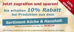 Netto Onlineshop, 10 % Rabatt auf das Sortiment Küche & Haushalt
