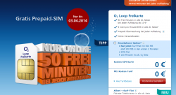 O2 Gratis Prepaid Karte mit 1€ Startguthaben kostenloser Versand @o2-freikarte.de