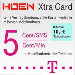 Telekom Xtra Card Tarif – Prepaid SIM Karte mit bis zu 19€ Startguthaben für 3€ @ ebay