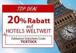 20% Rabatt auf viele Hotels bei ebookers mit Gutscheincode TICKTOCK