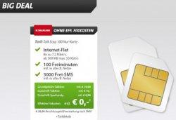 Big Deal bei Sparhandy: Talk Easy 100 Karte mit Internet-Flat für 0€ mtl. durch Erstattung