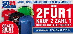 GRATIS SHIRT! 2 Shirts kaufen, 1 zahlen @SC24.com