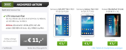 Highspeed Aktion bei Sparhandy zb. Samsung Galaxy Tab 3 10.1 16 GB 3G für 11€ mtl.