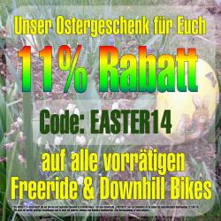 Satte 11% OSTERRABATT auf Freeride Downhill Mountainbikes @jehlebikes.de