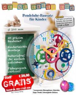Toller Pendeluhrbausatz für Kinder @pearl, nur Versandkosten (4,90 € statt UVP 39,90 €)