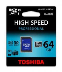 Toshiba Micro SDXC Class 64GB Speicherkarte für 26€ kostenloser Versand [idealo 34,76€] @Amazon