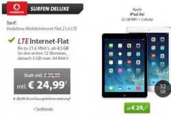 WeekendDeal bei Sparhandy: Vodafone MobileInternet Flat 21,6 LTE für 24,99€ mtl. + einmalige 29 Euro für Apple iPad Air oder iPad Mini 2