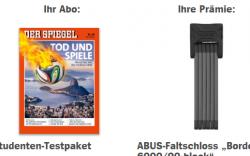 12 Ausgaben Spiegel + ABUS-Faltschloss BORDO für €19,90 statt 89,00€ @abo.spiegel.de