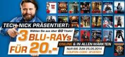 3 Blu-Rays für 20€ zzgl. Versandkosten im Saturn Online Shop bis 25.05.2014