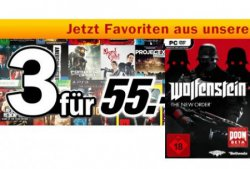 3 für 55€ Games, Blu-rays und Steelbooks mit Code @Media Markt, z.B. Wolfenstein: The New Order für 55€ + 2 weitere Titel