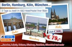 3 Tage zu zweit in vielen verschiedenen A&O Hotels inkl. Frühstück für 79€ @ab in den urlaub