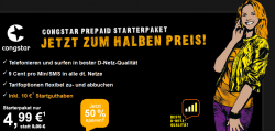 Congstar Prepaid Starterpaket mit 10 Euro Guthaben für nur 4,99 Euro bei Congstar
