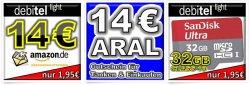 debitel light Prepaid-Simkarte mit 10€ Startguthaben z.B. mit 14€ Amazon Gutschein für nur 1,95€ @eBay