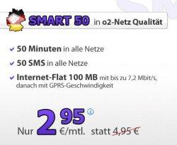 Deutschland SIM SMART 50 (50 min. + 50 SMS + 100 MB für 2,95 €/Monat im O2 Netz, monatl. kündbar) ohne Startpaketpreis statt regulär 19,95 € @groupon