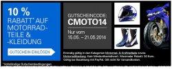 @ebay: 10% Gutschein gültig 17.-21.05.14 Kategorie: Motorradteile + Kleidung