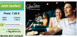 Ersparnis  50% – CineStar Kinokarte inkl. Popcorn für 7€ @Groupon