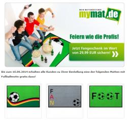 Gratis Fußballmatte zu jeder Bestellung einer WM 2014 Matte (Wert 29,99€) @mymat.de