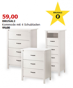 ikea kommoden malm brimnes und brusali um bis zu 40 reduziert liveshopping aktuell. Black Bedroom Furniture Sets. Home Design Ideas