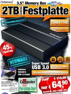 Intenso 2TB Externe Festplatte 3,5 USB 3.0 nur 64,90€ statt 77,22€ (idealo) @pearl.de