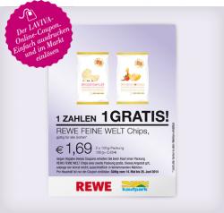 [LOKAL] REWE feine Welt Chips 2 kaufen nur 1 Tüte bezahlen 1,69€ @Lavia