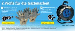 Neue Aktionsartikel bei Conrad.de: Gartenhandschuhe für 0,90 € (bei 15€ MBW), 15m Kabeltrommel für 9 € (bei 60€ MBW)