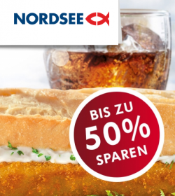 NORDSEE Coupons: Bis zu 50% Ersparnis (z.B. 2 Backfisch-Baguettes für 2,80 € statt 5,80 € oder 2 Gerichte für 10 €)