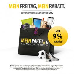 Nur Heute gültig 9% Gutschein für MeinPaket.de