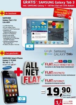 Samsung Galaxy Y S5360 + Samsung Galaxy Tab 3 + AllNet-Flat + Internet-Flat 1€ / 19,90€ im Monat @handyservice.de