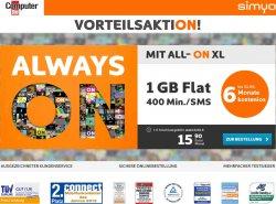 Simyo- Computerbild Aktion bis 30.06.: All On XL Tarif 6 Monate gratis, dann 15,90€ für 1GB Internet und 400 Telefoneinheiten