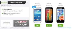 Sparhandy Einsteigertarif o2 Flat + Festnetz Flat + Internet Flat + zb. Nokia Lumia 635 für 4,95€ mtl.