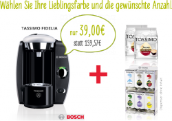 Tassimo Fidelia+32 Kaffee Pads + Kapselhalter und 40€ Guthaben für 39€ @beiunszuhause