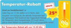 Temperaturrabatt bei mytoys.de : je höher die Temperatur, je mehr Rabatt auf ausgewählte. Artikel – heute 25%