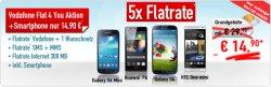 Vodafone 5x Flatrate bis zu 120€ Auszahlung + zb. Samsung Galaxy S4 für 14,90€ effektiv 2,40€@ Handybude