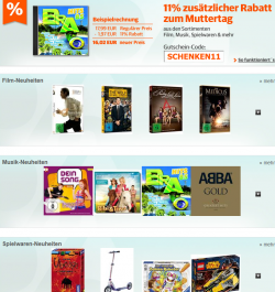 Zum Muttertag: 11% Rabatt auf alles außer Games, Elektro und preisgebundene Artikel bei buch.de, bol.de oder thalia.de