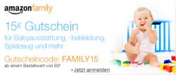 3 Monate Amazon Family(inkl. Prime) kostenlos + 15€ Gutschein