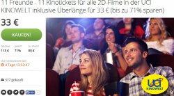 3€ pro Ticket! – 11 Kinotickets für alle 2D-Filme in der UCI KINOWELT inklusive Überlänge + Gratis Popcorn für 33 € @Groupon