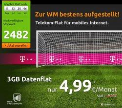 3GB Telekom Internet Flat (LTE) + HotSpot Flat für 4,99€ statt 19,99€ @modeo
