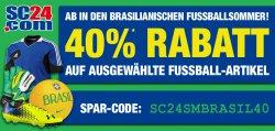 40% Rabatt auf viele Fußballartikel auf SC24.com!