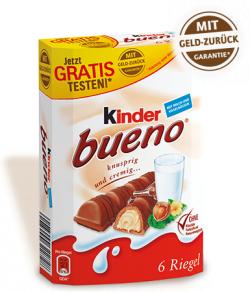 6er Pack Kinder Bueno kostenlos durch Cashback @Ferrero