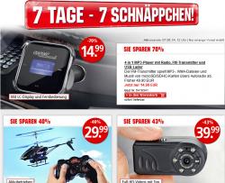7 Tage 7 Schnäppchen @Weltbild z.B. 4in1 MP3-Player mit Radio, FM-Transmitter & USB-Lader für 14,99 € zzgl. 3,99 € Versand (24,89 € Idealo)