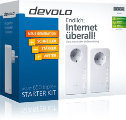 Devolo dLAN 650 triple+ Starter Kit mit 600 Mbit/s, 3 LAN Ports, Steckdose @Comtech Comdeal