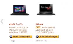 Amazon Aktion: Tablet- und 2-in-1-Neuheiten Täglich ein  Deal Heute Lenovo IdeaPad U530 Touch  für 699€